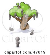 Royalty Free RF Clipart Illustration Of A Gray Design Mascot Man Watching Others Fall From The Family Tree by Leo Blanchette