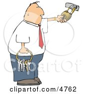 Businessman Holding A Ring Of Keys And Unlocking A Padlock Clipart