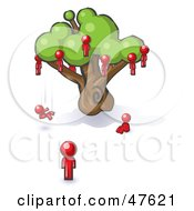 Royalty Free RF Clipart Illustration Of A Red Design Mascot Man Watching Others Fall From The Family Tree by Leo Blanchette
