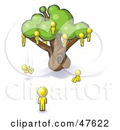 Royalty Free RF Clipart Illustration Of A Yellow Design Mascot Man Watching Others Fall From The Family Tree
