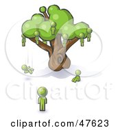 Royalty Free RF Clipart Illustration Of A Green Design Mascot Man Watching Others Fall From The Family Tree by Leo Blanchette