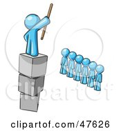 Royalty Free RF Clipart Illustration Of A Blue Design Mascot Man Ruling And Punishing Others
