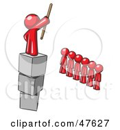 Royalty Free RF Clipart Illustration Of A Red Design Mascot Man Ruling And Punishing Others by Leo Blanchette