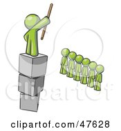 Royalty Free RF Clipart Illustration Of A Green Design Mascot Man Ruling And Punishing Others by Leo Blanchette
