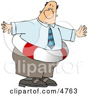 Obese Businessman Wearing A Life Preserver Clipart