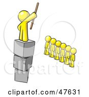 Royalty Free RF Clipart Illustration Of A Yellow Design Mascot Man Ruling And Punishing Others by Leo Blanchette