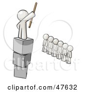 Royalty Free RF Clipart Illustration Of A White Design Mascot Man Ruling And Punishing Others