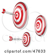 Royalty Free RF Clipart Illustration Of Three Targets With Darts On The Bullseyes by Leo Blanchette