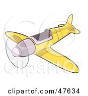 Royalty Free RF Clipart Illustration Of A Yellow Airplane With The Propeller Spinning