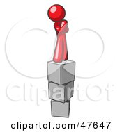 Red Design Mascot Man Thinking And Standing On Blocks by Leo Blanchette