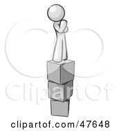 Royalty Free RF Clipart Illustration Of A White Design Mascot Man Thinking And Standing On Blocks