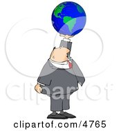 Businessman Holding The World In His Hand Clipart Concept