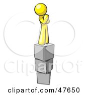 Royalty Free RF Clipart Illustration Of A Yellow Design Mascot Man Thinking And Standing On Blocks