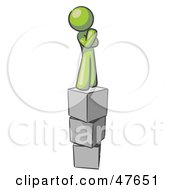 Royalty Free RF Clipart Illustration Of A Green Design Mascot Man Thinking And Standing On Blocks