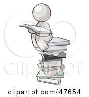 Royalty Free RF Clipart Illustration Of A White Design Mascot Man Reading On A Stack Of Books