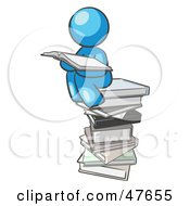 Royalty Free RF Clipart Illustration Of A Blue Design Mascot Man Reading On A Stack Of Books