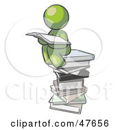 Royalty Free RF Clipart Illustration Of A Green Design Mascot Man Reading On A Stack Of Books