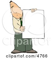Businessman Holding A Blank Poster Board Sign Clipart