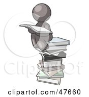 Royalty Free RF Clipart Illustration Of A Gray Design Mascot Man Reading On A Stack Of Books