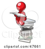 Red Design Mascot Man Reading On A Stack Of Books