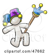 Royalty Free RF Clipart Illustration Of A White Design Mascot Man Court Jester Kneeling