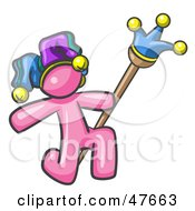 Royalty Free RF Clipart Illustration Of A Pink Design Mascot Man Court Jester Kneeling
