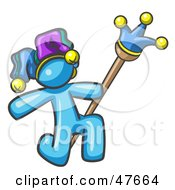 Royalty Free RF Clipart Illustration Of A Blue Design Mascot Man Court Jester Kneeling