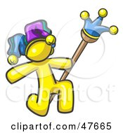 Royalty Free RF Clipart Illustration Of A Yellow Design Mascot Man Court Jester Kneeling