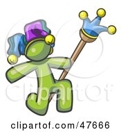 Royalty Free RF Clipart Illustration Of A Green Design Mascot Man Court Jester Kneeling