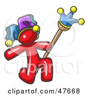 Royalty Free RF Clipart Illustration Of A Red Design Mascot Man Court Jester Kneeling