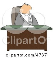 Gray Suited Male Attorney Sitting Behind His Business Desk In His Office Clipart