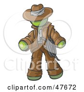 Royalty Free RF Clipart Illustration Of A Green Design Mascot Man Cowboy Adventurer