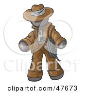 Royalty Free RF Clipart Illustration Of A Gray Design Mascot Man Cowboy Adventurer