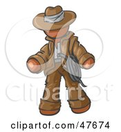 Royalty Free RF Clipart Illustration Of A Brown Design Mascot Man Cowboy Adventurer
