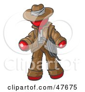 Royalty Free RF Clipart Illustration Of A Red Design Mascot Man Cowboy Adventurer