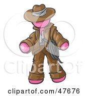 Pink Design Mascot Man Cowboy Adventurer