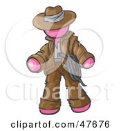 Royalty Free RF Clipart Illustration Of A Pink Design Mascot Man Cowboy Adventurer