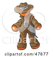 Royalty Free RF Clipart Illustration Of An Orange Design Mascot Man Cowboy Adventurer by Leo Blanchette