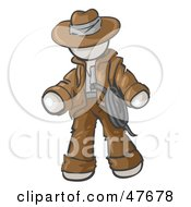 Royalty Free RF Clipart Illustration Of A White Design Mascot Man Cowboy Adventurer
