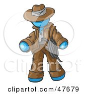 Royalty Free RF Clipart Illustration Of A Blue Design Mascot Man Cowboy Adventurer