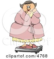 Clipart Chubby Woman Standing In Shock On The Scale Royalty Free Illustration