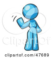 Blue Design Mascot Woman Waving