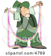 Male Irish Leprechaun Making A Rainbow Clipart