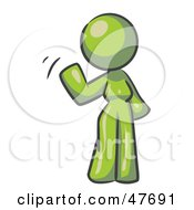 Royalty Free RF Clipart Illustration Of A Green Design Mascot Woman Waving