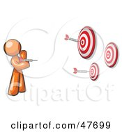 Royalty Free RF Clipart Illustration Of An Orange Design Mascot Man Throwing Darts At Targets by Leo Blanchette