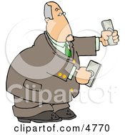 Banker Businessman Holding Cash Money In Both Hands Clipart