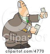 Banker Businessman Holding Cash Money In Both Hands