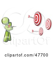 Royalty Free RF Clipart Illustration Of A Green Design Mascot Man Throwing Darts At Targets by Leo Blanchette