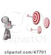 Royalty Free RF Clipart Illustration Of A Gray Design Mascot Man Throwing Darts At Targets by Leo Blanchette