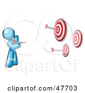 Royalty Free RF Clipart Illustration Of A Blue Design Mascot Man Throwing Darts At Targets by Leo Blanchette